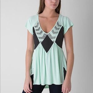 BKE Boutique Mint Beaded Top